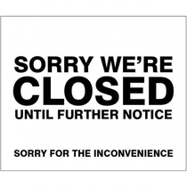 Sorry We're Closed Self Adhesive Sticker 300x250MM
